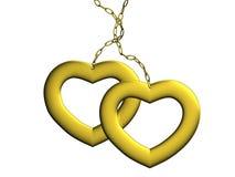 сердца 2 золота Стоковая Фотография RF