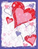 сердца grunge предпосылки Стоковое Изображение RF