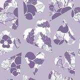 Сердца pansy картины вектора пурпурные Картина флористического повторения вектора безшовная иллюстрация вектора