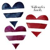 Сердца striped акварелью Вручите покрашенный символ влюбленности изолированный на белой предпосылке Иллюстрация дня ` s Valintine Стоковые Фото