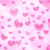 Сердца striped пинком на старой бумаге Стоковые Фотографии RF