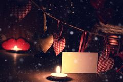 Сердце валентинки свечи вина Стоковая Фотография RF