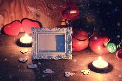 Сердце валентинки свечи вина Стоковое Фото