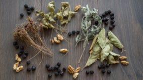 Сердце высушенных вишен, гаек и высушенных листьев чая Стоковая Фотография