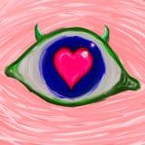 Сердце в дьяволе eye's Стоковые Изображения RF