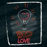 Сердце в лампе нарисовано на школьном правлении бесплатная иллюстрация