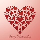 Сердце дня Valentineâs на бумажной карточке Стоковые Фото