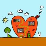 Сердце дома с иллюстрацией милой руки животных вычерченной для штырей t стикеров предпосылки представления знамен плакатов печате иллюстрация вектора