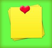сердце замечает липкое Стоковые Фотографии RF