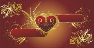 сердце золота рамки Стоковые Фото