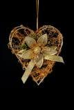 сердце золота украшения рождества Стоковое Изображение