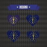 Сердце Индианы с флагом внутрь Символы векторной графики Grunge иллюстрация вектора