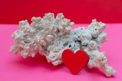 Сердце и коралл - карта дня Валентайн стоковая фотография rf