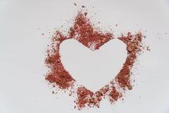 Сердце Карточки дня ` s валентинки форма сердца цвета песка стоковое фото rf