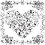 Сердце книжка-раскраски декоративное цветков и бабочек в флористической рамке также вектор иллюстрации притяжки corel иллюстрация штока