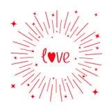 Сердце красного цвета слова влюбленности Круглая линия сияющий круг звезды valentines дня счастливые Плоский дизайн карточка 2007 Стоковые Изображения RF