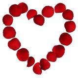 Сердце красных розовых лепестков изолированных на белой предпосылке Стоковые Изображения RF