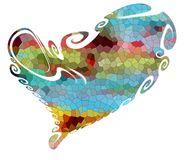 Сердце Красочное изолированное сердце в шаловливых формах Стоковые Изображения