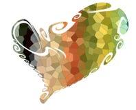 Сердце Красочное изолированное сердце в шаловливых waxy формах Стоковое фото RF