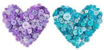 Сердце лаванды и бирюзы много кнопок стоковые фотографии rf
