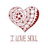 Сердце нарисованное рукой красное в стиле zentangle бесплатная иллюстрация
