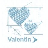 Сердце нарисовано в карандаше как геометрическая диаграмма К дню святой валентинки иллюстрация вектора