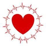 Сердце на изолированной предпосылке с cardiogram вокруг сердца Vector иллюстрация значков импульса сердца иллюстрация вектора