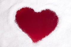 Сердце на снежном окне Стоковое Изображение