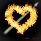 Сердце огня на день любовников стоковые изображения rf