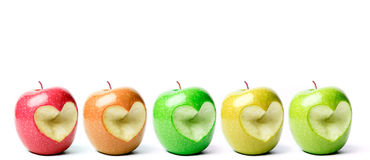 сердце отрезока яблок с формы Стоковая Фотография