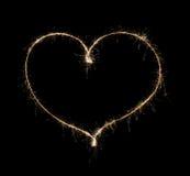 Сердце от бенгальского огня Стоковые Изображения