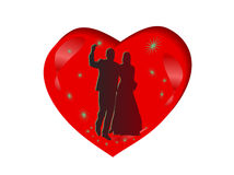 сердце пар silhouettes венчание Иллюстрация штока