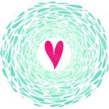 Сердце пинка вектора на абстрактной предпосылке с рамкой от падений бирюзы иллюстрация штока