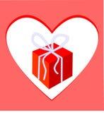 сердце подарка рамки коробки Стоковое фото RF