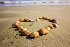 Сердце полное раковин на песчаном пляже Кипра, береговой линии среднеземноморского стоковые изображения