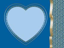 сердце предпосылки голубое темное Стоковые Изображения
