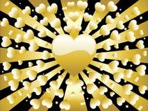 сердце предпосылки золотистое ретро Стоковые Фото