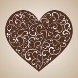 Сердце пряника с белым tracery - скручиваемостями иллюстрация штока