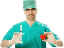 сердце руки доктора его шприц Стоковое Изображение RF