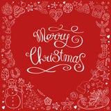 Сердце сделанное элементов различного рождества декоративных Милая карта Рождество фразы каллиграфии веселое  иллюстрация штока