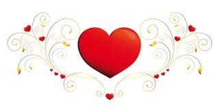 Сердце, сердца, красный цвет, krausens, золото, предпосылка иллюстрация штока