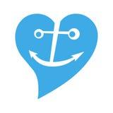 сердце сини анкера Стоковая Фотография