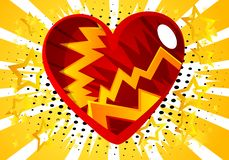 Сердце стиля комика, абстрактный символ любов иллюстрация вектора