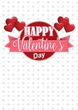 Сердце сформировало розовые воздушные шары держа знак круга с розовой лентой с сообщением счастливым Valentine& x27; день s на бе Стоковые Изображения