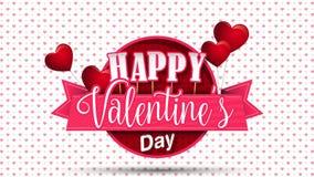 Сердце сформировало розовые воздушные шары держа знак круга с розовой лентой с днем ` s валентинки сообщения счастливым на белой  видеоматериал