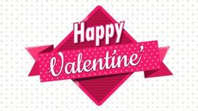 Сердце сформировало розовые воздушные шары держа квадратный знак с розовой лентой с днем ` s валентинки сообщения счастливым на б сток-видео