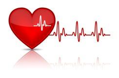 Сердце с биением сердца, электрокардиограммой Стоковая Фотография RF
