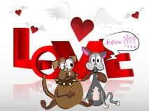 Сердце с крылами котом и собакой Стоковые Изображения