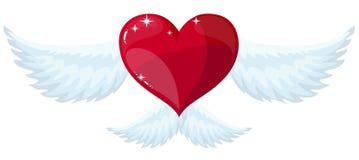 Сердце с крылами Плоский стиль иллюстрация вектора