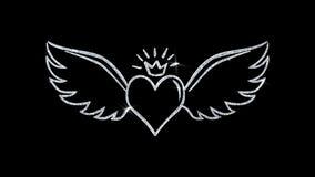 Сердце с крыльями угла формирует моргать предпосылку частиц значка